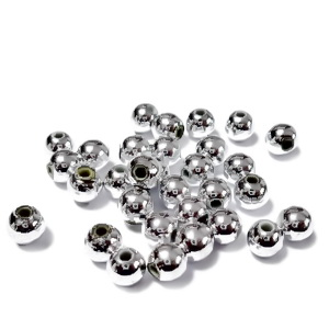 Margele plastic ABS, electroplacate, argintiu metalizat, 5mm(cca 50 bc) 3 g