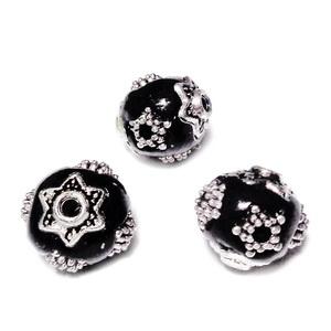Margele indoneziene negre cu accesorii argintiu antichizat,  11~11.5x10.5~11mm 1 buc