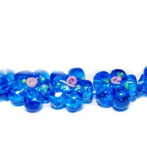 Margele sticla, lampwork, cu foita argintie, flori bleu, 14~15x10mm 1 buc