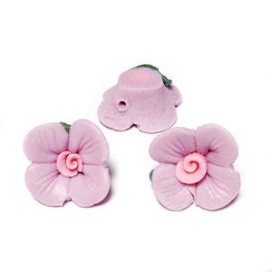 Margele portelan, mov cu roz, floare 14~14.5x13~14x7~8mm 1 buc