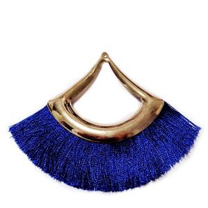 Ciucuri ata matasoasa albastra cu accesorii aurii,  70~75x85~97x3mm 1 buc