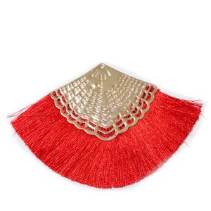 Ciucuri ata matasoasa rosie cu accesorii aurii,   64~68x95~98x2.5mm 1 buc