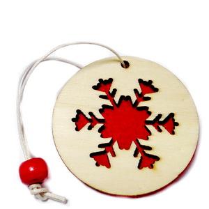 Ornament brad din lemn cu fetru rosu pe verso,5.5cmx1mm-model 1 1 buc
