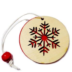 Ornament brad din lemn cu fetru rosu pe verso,5.5cmx1mm-model 2 1 buc