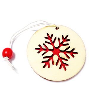 Ornament brad din lemn cu fetru rosu pe verso,5.5cmx1mm-model 5 1 buc