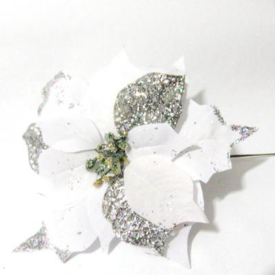 Craciunita alba cu glitter, 24~25 cm 1 buc