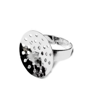 Baza inel, argintiu inchis, reglabil, interior 19mm, sita 20mm 1 buc