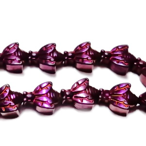 Margele hematite nemagnetice, electroplacate, fucsia, insecta 10x7.5x4.5mm 1 buc