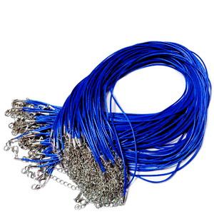Ata cerata albastru cobalt, 1.5mm, cu inchizatoare, 45cm 1 buc