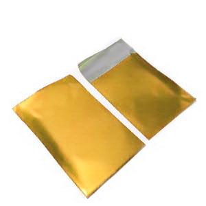 Pungi celofan cu aspect metalizat, aurii, cu banda autoadeziva, interior 6x7cm cca 100 buc