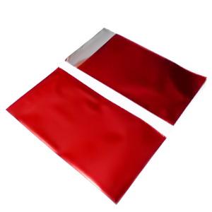Pungi celofan cu aspect metalizat, rosii, cu banda autoadeziva, interior 12.5x7.5cm cca 100 buc