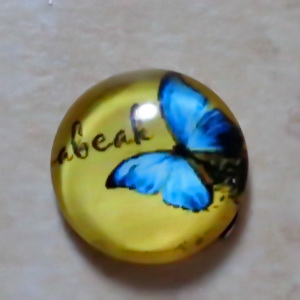 Cabochon sticla 14mm, fluturas bleu 1 buc
