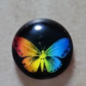 Cabochon sticla 14mm, fluturas slbastru cu portocaliu 1 buc