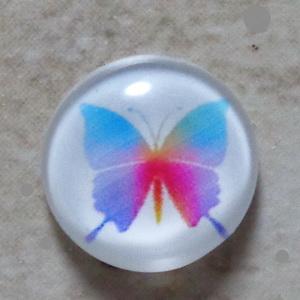 Cabochon sticla 14mm, fluturas bleu cu roz si mov 1 buc