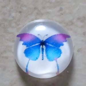 Cabochon sticla 14mm, fluturas albastru cu roz 1 buc