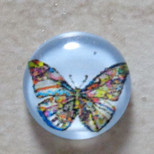 Cabochon sticla 14mm, fluturas multicolor 1 buc
