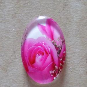 Cabochon sticla 25x18mm, flori, model 4 1 buc