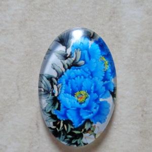 Cabochon sticla 25x18mm, flori, model 6 1 buc