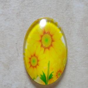 Cabochon sticla 25x18mm, flori, model 20 1 buc