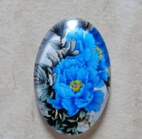Cabochon sticla 30x20mm, flori, model 6 1 buc