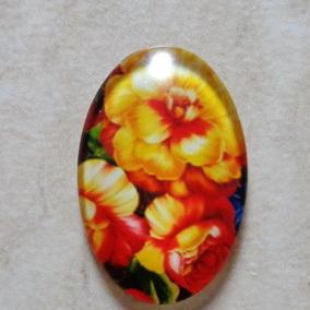 Cabochon sticla 30x20mm, flori, model 12 1 buc