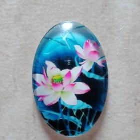 Cabochon sticla 30x20mm, flori, model 21 1 buc