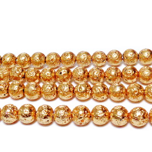 Lava electroplacata, auriu-maro, 6-6.5mm 1 buc