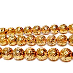 Lava electroplacata, auriu-maro, 8-8.5mm 1 buc