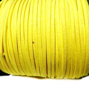 Snur faux suede, galben, grosime 3x1.5mm 1 m
