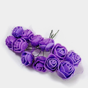 Trandafiri din burete mov, 22x18mm-legatura 12 buc 1 set