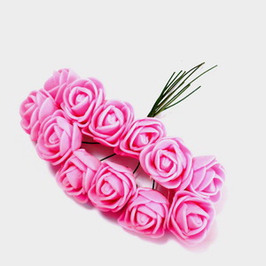Trandafiri din burete roz, 22x18mm-legatura 12 buc 1 set