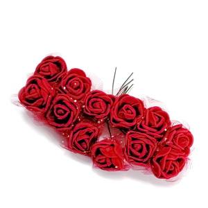 Trandafiri din burete bordo, 22x18mm-legatura 12 buc 1 set