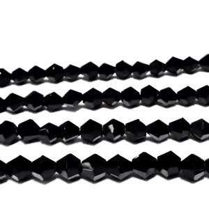 Margele sticla biconice negre 4mm 10 buc