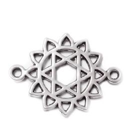 Conector/link tibetan, Chakra Anahata, 20x15x1.5mm 1 buc