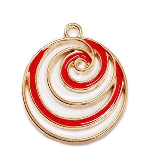 Pandantiv metalic, emailat, auriu cu rosu, spirala 24x21x1.5mm 1 buc