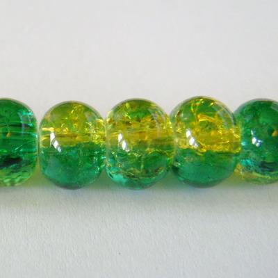 Margele sticla crackle verzi rondel 8x5 mm 10 buc