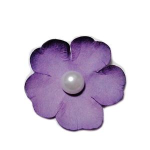 Floare hartie mov cu perla alba, 40mm 1 buc