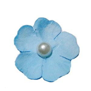 Floare hartie bleu cu perla alba, 40mm 1 buc