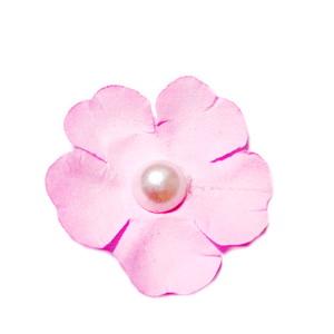 Floare hartie bleu roz cu perla alba, 40mm 1 buc