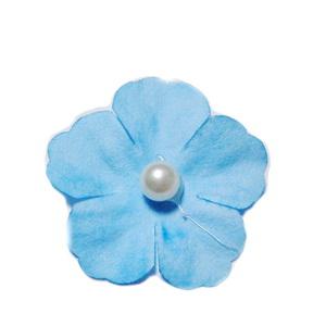 Floare hartie bleu cu perla alba, 30mm 1 buc