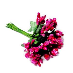 Buchet 12 flori fucsia, din stamine, 7-8 cm 1 set