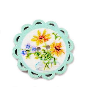 Nasturi lemn, bleu cu flori, 24x2mm 1 buc