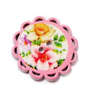 Nasturi lemn, roz cu flori, 24x2mm 1 buc