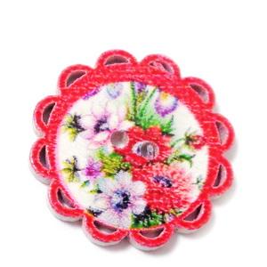 Nasturi lemn, rosii cu flori, 24x2mm 1 buc