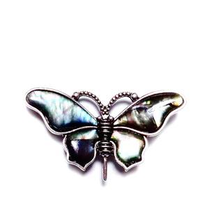 Brosa/pandantiv argintiu antichizat cu sidef, fluture 58x30mm 1 buc