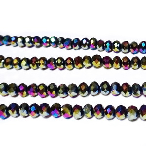 Margele sticla multifete, multicolor, AB, metalizat 4x3mm 10 buc