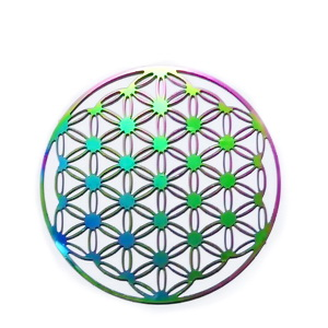 Pandantiv otel inoxidabil 201, electroplacat, multicolor, 40x0.2mm 1 buc