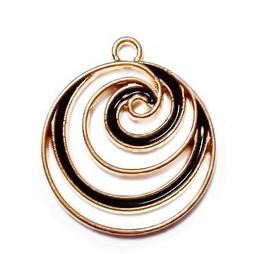 Pandantiv metalic, emailat, auriu cu negru, spirala 24x21x1.5mm 1 buc