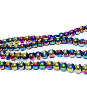 Margele sticla, multicolore, AB, 4x4.5mm 10 buc
