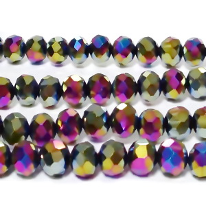 Margele sticla, multifete, multicolore, AB, 6x5mm 10 buc
